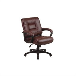 Office Star Work Smart Mid Back Executive Leather Chair with Padded Loop Arms - Burgundy