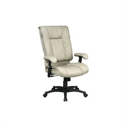 Office Star Deluxe High Back Executive Leather Chair with Pillow Top Seat - Black