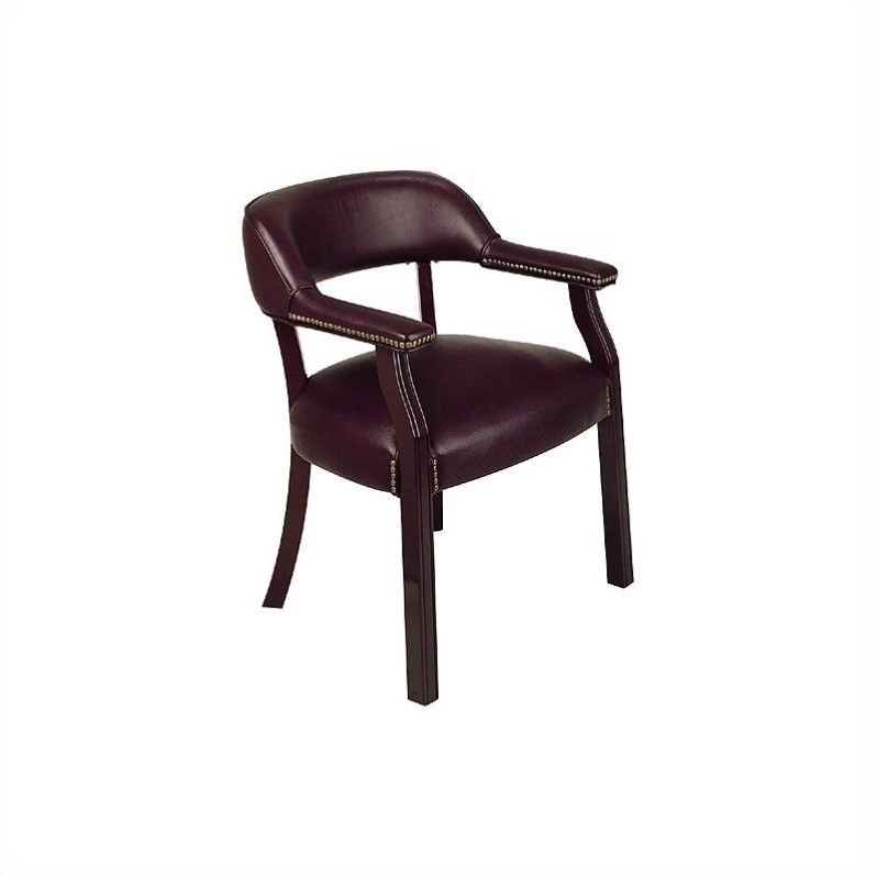 Traditional Guest Chair with Wrap Around Back in Oxblood