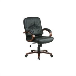 Office Star Mid Back Executive Leather Office Chair with Cherry Finish Wood Base and Arms