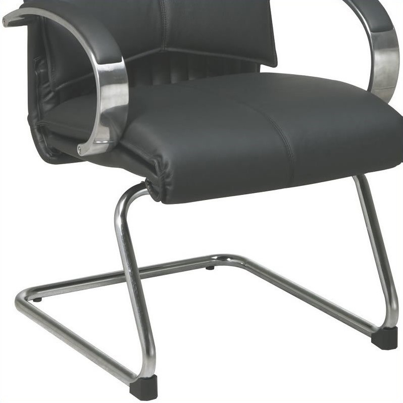 Office Star 8200 Series Mid Back Guest Leather Office Chair in Black