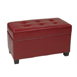 Faux Leather Storage Ottoman in Crimson Red