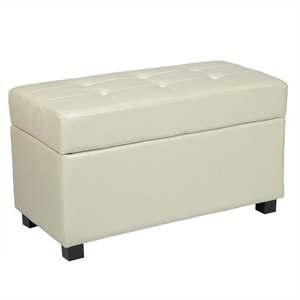 Storage Bench Ottoman in Cream Faux Leather