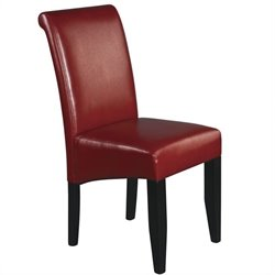 Dining Chair in Crimson Red Bonded Leather