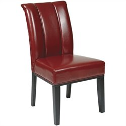 Pleated Back Dining Chair in Crimson Red