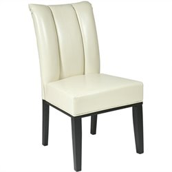 Office Star Metro Pleated Back Dining Parsons Chair in Cream