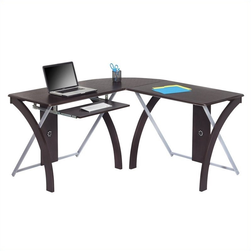 Office Star X-Text L-Shaped Computer Desk in Espresso - XT82L