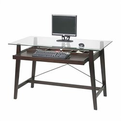 Office Star Tribeca Computer Desk in Glass Top and Espresso Base