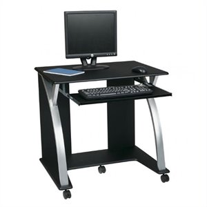 Saturn Computer Desk Black PVC Veneer in Black w/ Silver