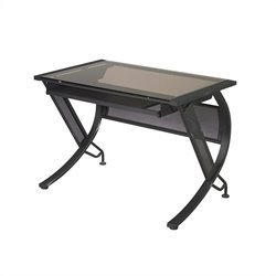 Office Star Horizon Desk w/ Keyboard in Black / Bronze Glass