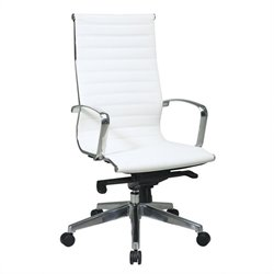 Office Star Deluxe White Eco Leather High Back Managers Office Chair