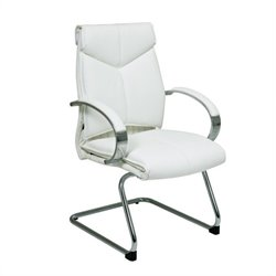 Office Star Deluxe Mid Back Executive Office Chair with Chrome Finish Base and Arms in White Leather