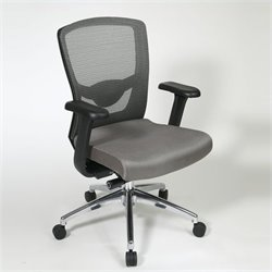 Office Star ProGrid High Back Office Chair with Adjustable Arms in Grey