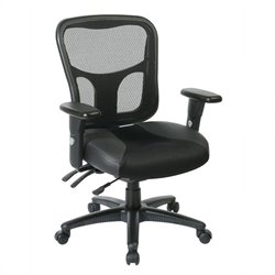 Office Star ProGrid High Back Manager Office Chair with Leather and Mesh Seat