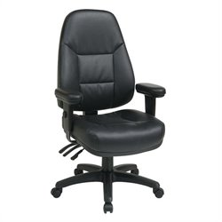 Office Star Professional Ergonomic High Back Black Eco Leather Chair