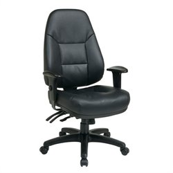 Office Star Deluxe High Ratchet Back Eco Leather Chair in Black