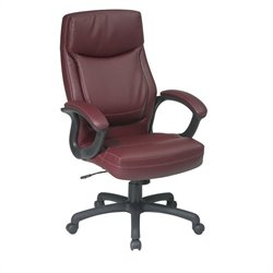 Office Star Executive High Back Burgundy Eco Leather Chair