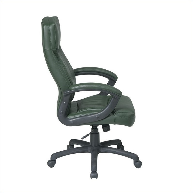 Executive High Back Green Leather Office Chair