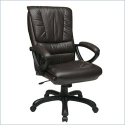 Office Star High Back Leather Chair in Espresso