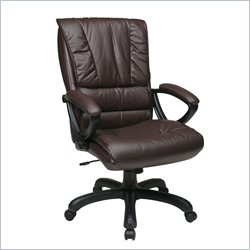 Office Star High Back Leather Chair in Wine