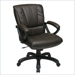 Office Star Mid Back Leather Chair in Espresso