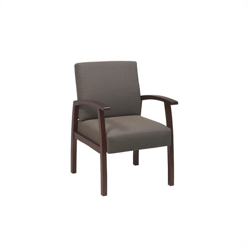 Deluxe Guest Chair with Taupe Fabric in Cherry Finish
