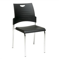 Set of 4 Straight Leg Stack Stacking Chair in Black