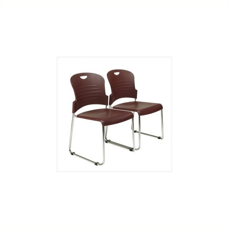 Stacking Chair in Burgundy (Set of 2)