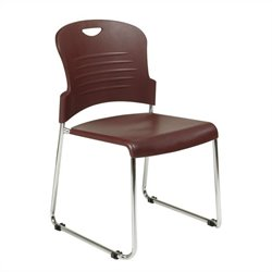 Set of 4 Stack Stacking Chair in Burgundy