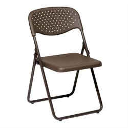 Office Star FC Series Set of 4 Plastic Folding Chair in Mocha