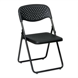 Office Star FC Series Set of 4 Plastic Folding Chair in Black