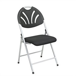 Office Star FC Series Set of 4 Plastic Folding Chair in Black and Silver