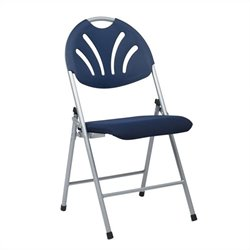 Office Star FC Series Set of 4 Plastic Folding Chair in Blue and Silver