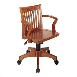 Office Star Deluxe Wood Bankers Office Chair with Wood Seat in Fruit Wood