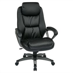 Eco Leather Office Chair with Headrest in Black