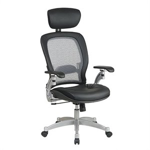 Space Seating Executive Leather Office Chair in Black