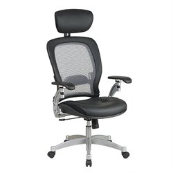 Office Star Space Seating Executive Leather Office Chair in Black