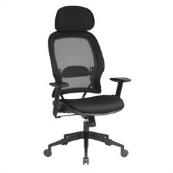 Air Grid Mesh Back and Fabric Seat with Adjustable Headrest Deluxe Office Chair in Black