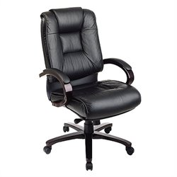 Office Star High Back Leather Office Chair with Padded Mahogany Finish Arms