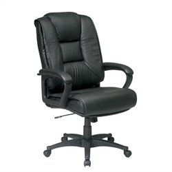 Office Star Deluxe High Back Leather Chair with Padded Loop Arms - Black