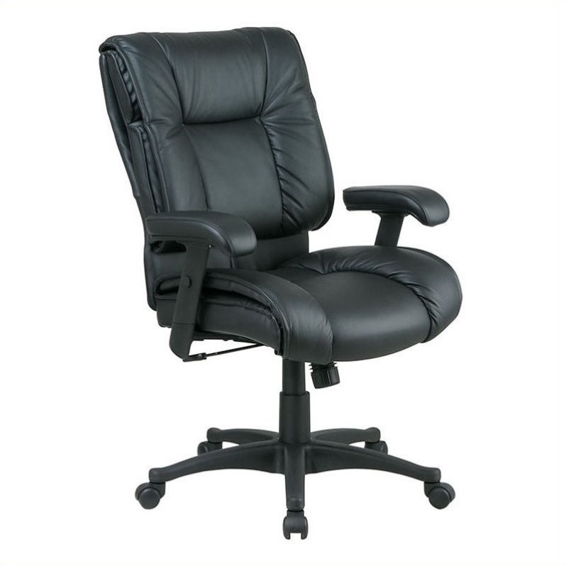 Office Star Work Smart Deluxe Mid Back Leather Office Chair with Pillow Top Seat