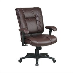 Office Star Work Smart Deluxe Mid Back Leather Chair with Pillow Top Seat - Burgundy