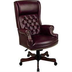 Office Star Traditional Vinyl Executive Office Chair in Mahogany