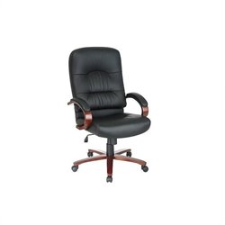 Office Star High Back Executive Leather Office Chair with Cherry Finish Wood Base and Arms