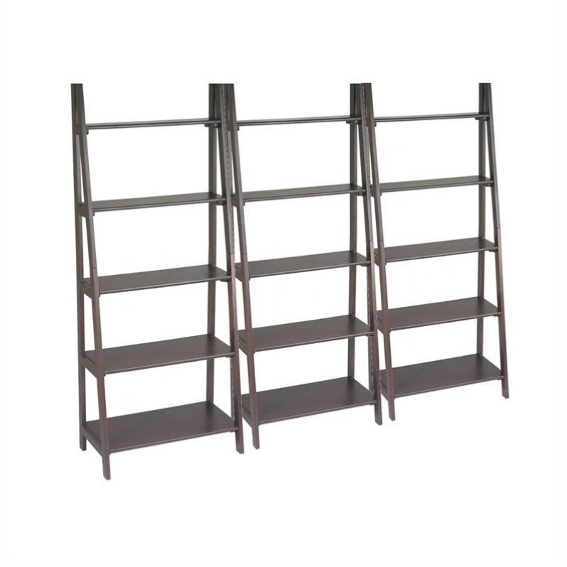 Office Star Ladder Bookcase Set in Espresso