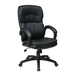 Office Star High Back Eco Leather Executive Office Chair w/ Arms in Black