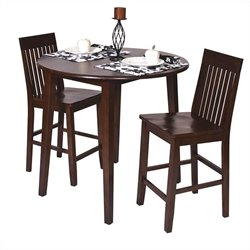 Office Star Westbrook 3 Piece Counter Height Pub Set in Amaretto and Espresso
