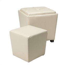 2 Piece Eco Leather Ottoman Set in Cream