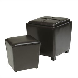 Office Star Metro 2 Piece Eco Leather Ottoman Set in Espresso