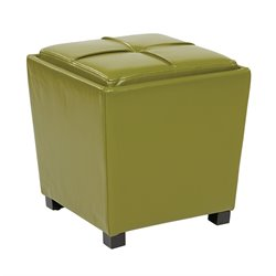Office Star OSP Designs 2 Piece Bonded Leather Ottoman Set in Green